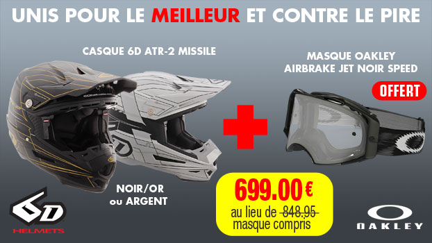 casque 6d atr-2 missile noir or + masque oakley airbrake jet noir speed offert
