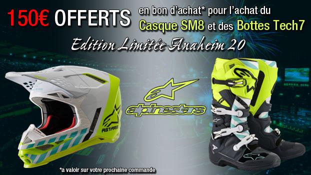 casque alpinestars supertech m8 + bottes alpinestars tech 7 édition limitée anaheim 2020