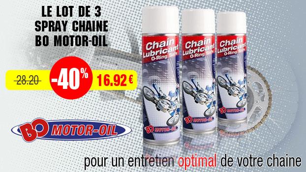 40% de remise sur le pack de 3 spray chaine bo motor-oil