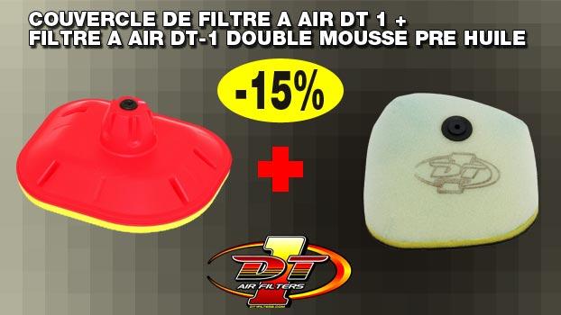 Couvercle de filtre a air DT 1 + Filtre a air DT-1 double mousse Pre huile sur OH-MOTOS