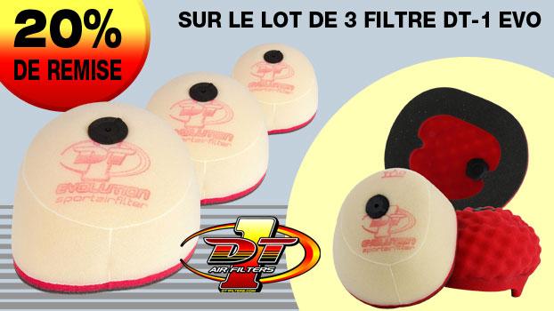 20% de remise sur le lot de 3 filtres à air DT-1 Evolution triple mousse.