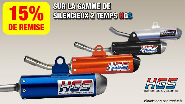 15% de remise sur les silencieux 2 temps HGS.