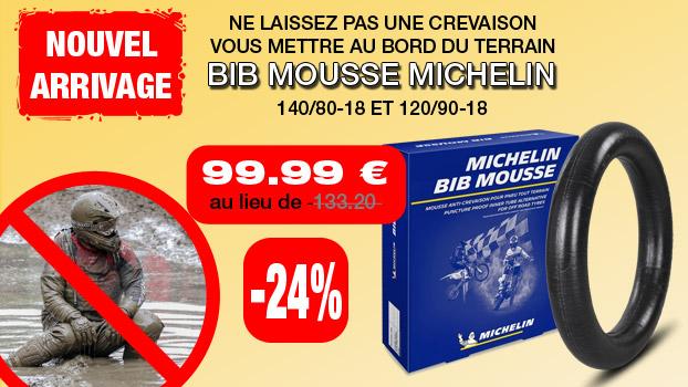 Bib mousse Michelin à  99,99€ pour le 140/80-18 et 120/90-18