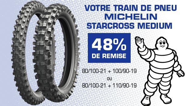 48% de remise sur le Train de Pneus cross Michelin Starcross 5 Medium 80/100-21 + 100/90-19 ou 80/100-21 + 110/90-19