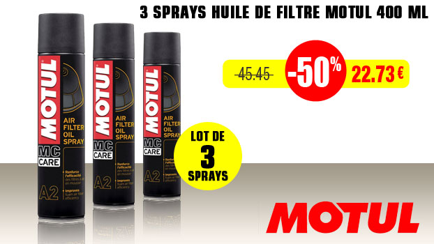 Lot de 3 Spray Huile de filtre Motul 400 ml