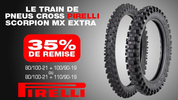 35% de remise sur le train de  Pneus cross Pirelli Scorpion MX Extra 80/100-21 + 100/90-19 ou 80/100-21 + 110/90-19