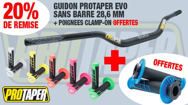 20 % de remise sur le un guidon Pro Taper sans barre 28,6 mm EVO + poignées  Clamp-On offertes