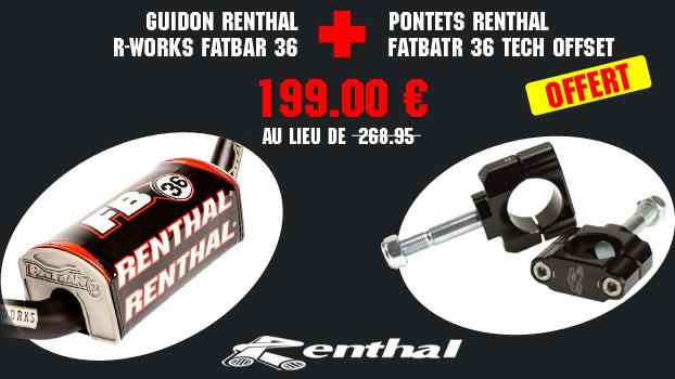 guidon renthal r-works fatbar 36 noir + pontets renthal fatbatr 36 tech offset 0 mm offerts