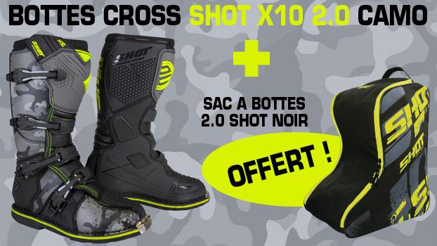 bottes cross shot x10 2.0 camo + sac à bottes 2.0 shot noir offert