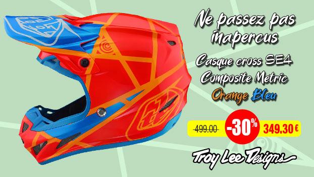 Le casque cross Troy Lee Designs SE4 Composite Metric Orange Bleu à        -30%