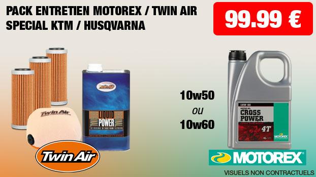 pack entretien motorex 10w50 ou 10w60 + twin air special ktm / husqvarna